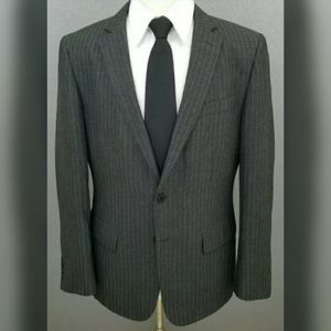 John Varvatos Gray Striped Slim Rayon Sport Coat